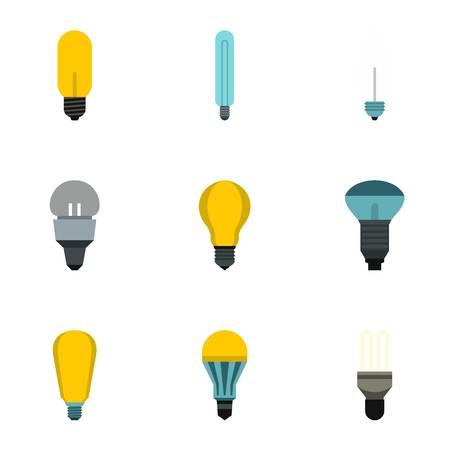 Lighting icons set. Flat illustration of 9 lighting vector icons for web