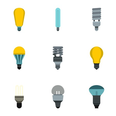 Types of lamps icons set. Flat illustration of 9 types of lamps vector icons for web