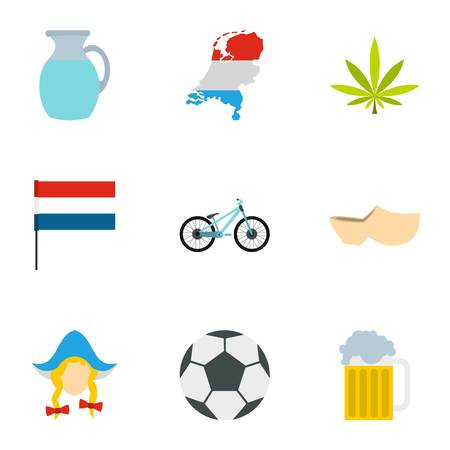 clogs: Holland icons set. Flat illustration of 9 Holland vector icons for web