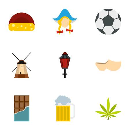 Holiday in Holland icons set. Flat illustration of 9 holiday in Holland vector icons for web
