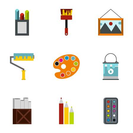creativity: Creativity art icons set. Flat illustration of 9 creativity art vector icons for web