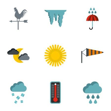 Kinds of weather icons set. Flat illustration of 9 kinds of weather vector icons for web Illustration