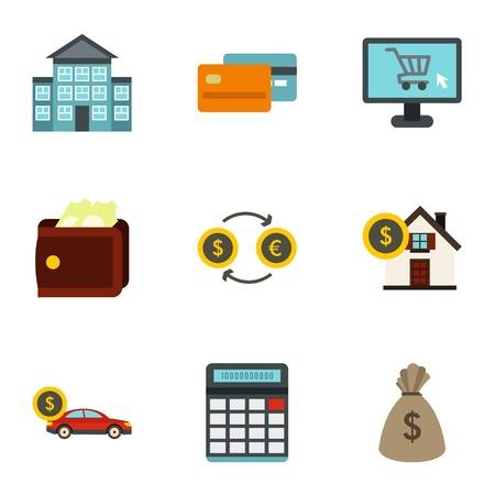 house exchange: Money icons set. Flat illustration of 9 money vector icons for web