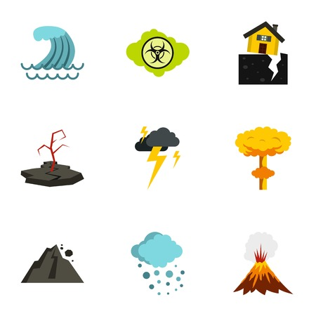 natural disasters: Natural disasters icons set. Flat illustration of 9 natural disasters vector icons for web