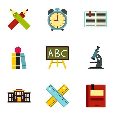 schoolhouse: Schoolhouse icons set. Flat illustration of 9 schoolhouse vector icons for web