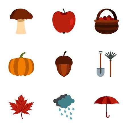 golden apple: Autumn icons set. Flat illustration of 9 autumn vector icons for web Illustration