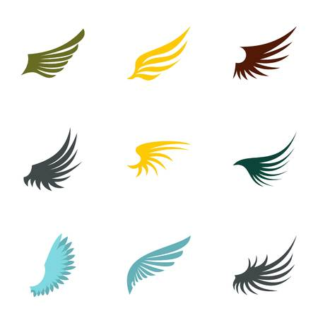 Types of wings icons set. Flat illustration of 9 types of wings vector icons for web Illustration
