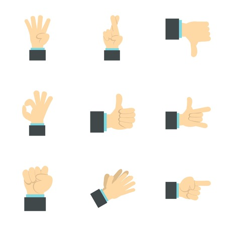control of body movement: Gesture icons set. Flat illustration of 9 gesture vector icons for web