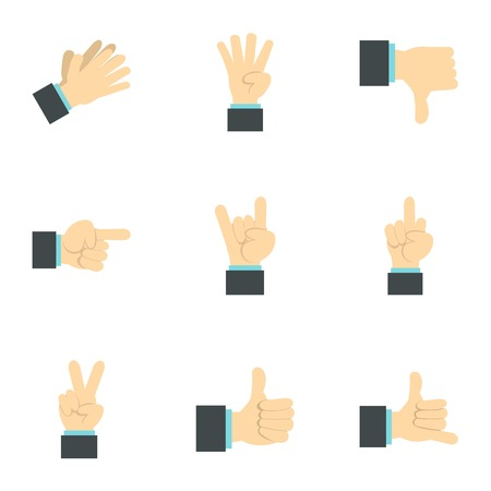 control of body movement: Hand icons set. Flat illustration of 9 hand vector icons for web Illustration