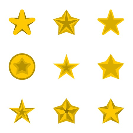 five pointed: Star icons set. Flat illustration of 9 star vector icons for web Illustration