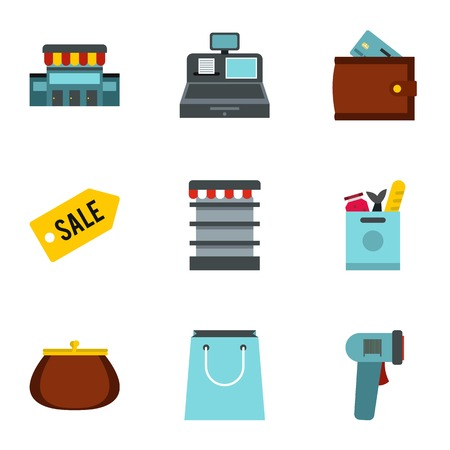 cash register building: Store icons set. Flat illustration of 9 store vector icons for web