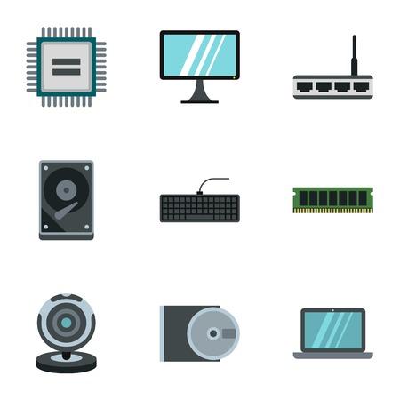 Computer setup icons set. Flat illustration of 9 computer setup vector icons for web Illustration