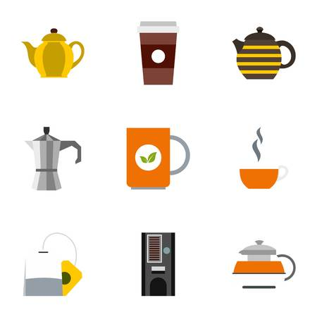 Tea icons set. Flat illustration of 9 tea vector icons for web