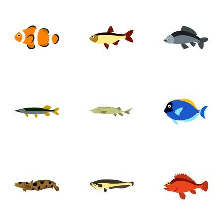 clown tang: Fish icons set. Flat illustration of 9 fish vector icons for web