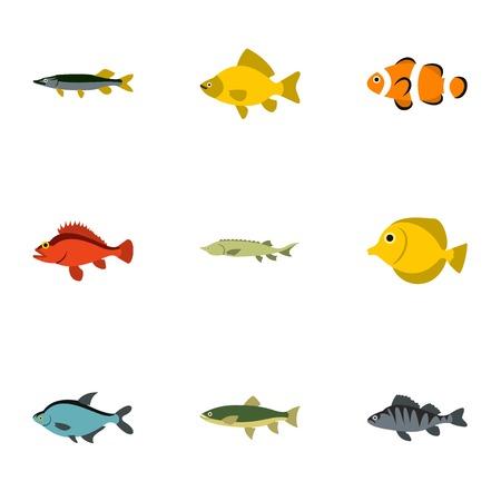 Iconos de pescado de río. Ilustración plana de 9 ríos iconos vectoriales de pescado para la web