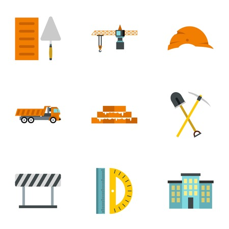 plasterer: Repair icons set. Flat illustration of 9 repair vector icons for web
