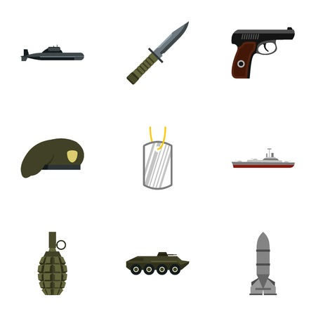 defense: Military defense icons set. Flat illustration of 9 military defense vector icons for web
