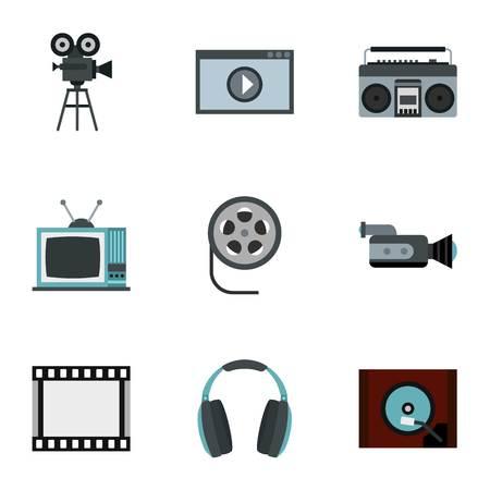 hdtv: Communication device icons set. Flat illustration of 9 communication device vector icons for web