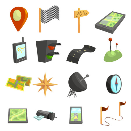 GPS navigation icons set. Cartoon illustration of 16 GPS navigation vector icons for web