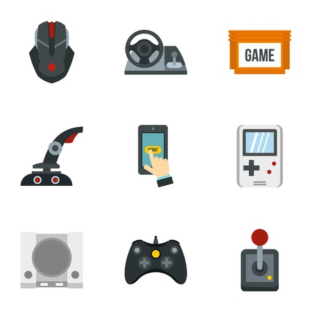 shifting: Game console icons set. Flat illustration of 9 game console vector icons for web Illustration