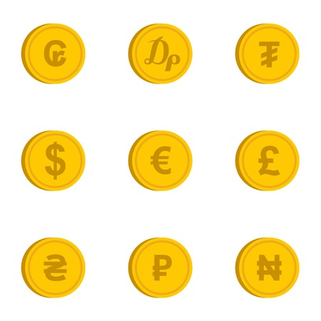 dram: Currency icons set. Flat illustration of 9 currency vector icons for web