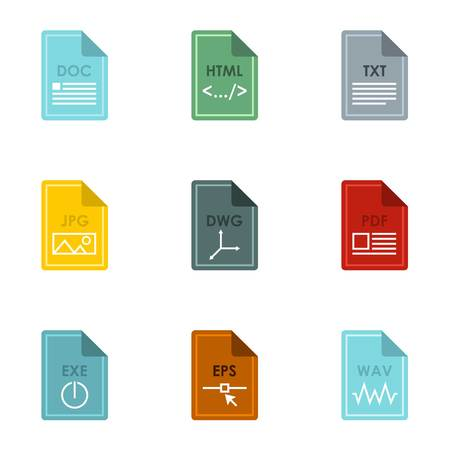 wav: Document types icons set. Flat illustration of 9 document types vector icons for web