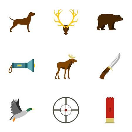 Hunting of animals icons set. Flat illustration of 9 hunting of animals vector icons for web
