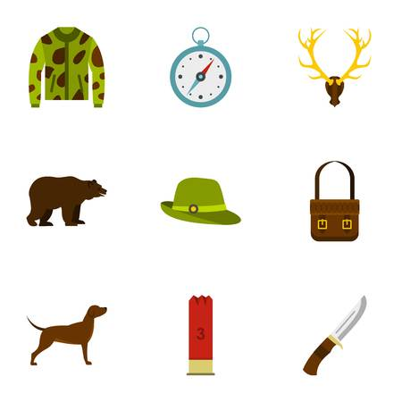 wildlife shooting: Hunting icons set. Flat illustration of 9 hunting vector icons for web