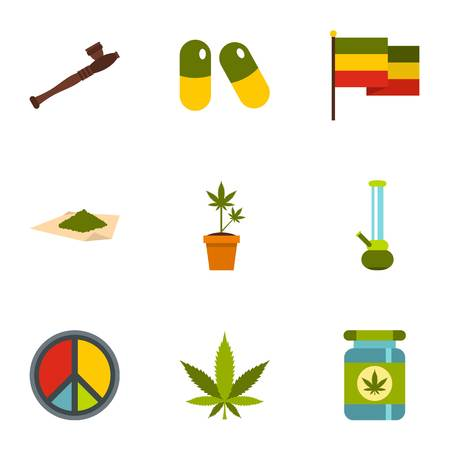 narcotics: Hemp icons set. Flat illustration of 9 hemp vector icons for web
