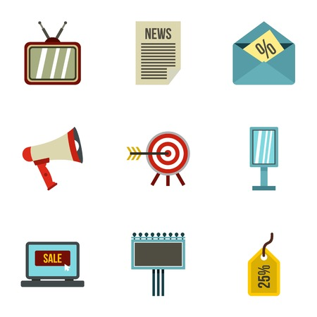Contextual advertising icons set. Flat illustration of 9 contextual advertising vector icons for web Illustration