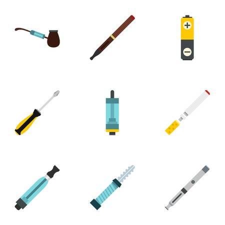 Electronic cigarette icons set. Flat illustration of 9 electronic cigarette vector icons for web