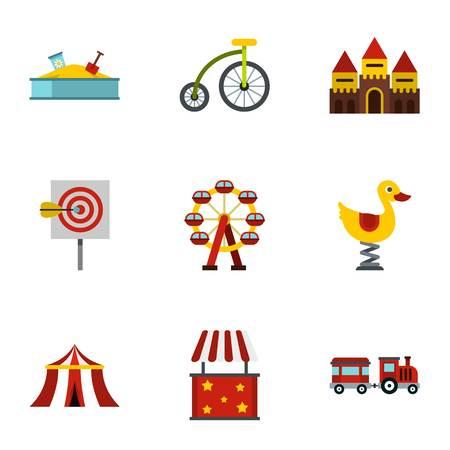 spring balance: Rides icons set. Flat illustration of 9 rides vector icons for web Illustration