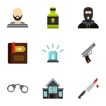 robbery: Robbery icons set. Flat illustration of 9 robbery vector icons for web Illustration
