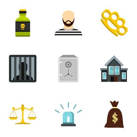 delito: Iconos de delitos. Ilustración plana de iconos del vector 9 ofensa para web Vectores