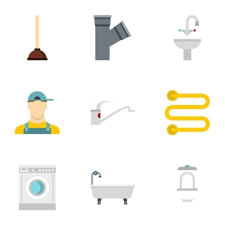 cold room: Plumbing icons set. Flat illustration of 9 plumbing vector icons for web Illustration