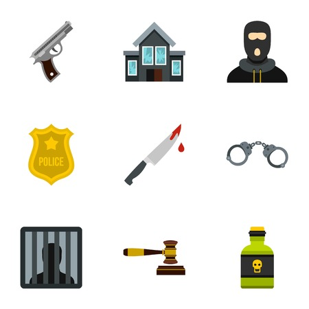 lawlessness: Lawlessness icons set. Flat illustration of 9 lawlessness vector icons for web