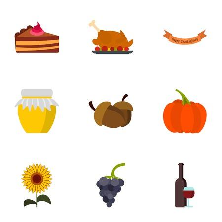 Autumn festival icons set. Flat illustration of 9 autumn festival vector icons for web Illustration
