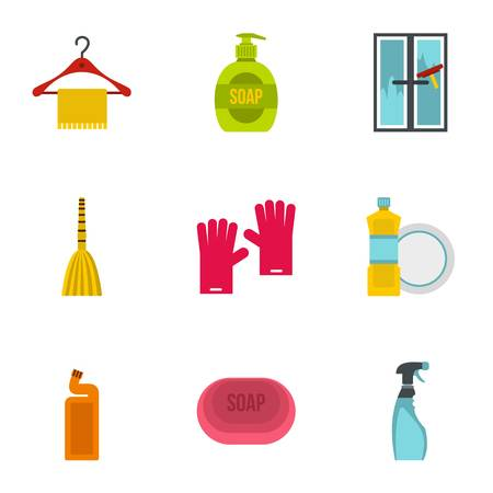 dishwashing liquid: Cleansing icons set. Flat illustration of 9 cleansing vector icons for web Illustration