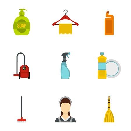 dishwashing liquid: House cleaning icons set. Flat illustration of 9 house cleaning vector icons for web Illustration