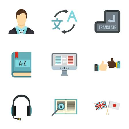 talking dictionary: Translation of language icons set. Flat illustration of 9 translation of language vector icons for web