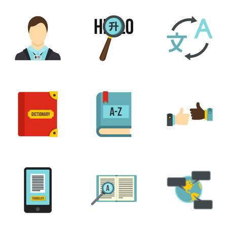talking dictionary: Languages icons set. Flat illustration of 9 language vector icons for web