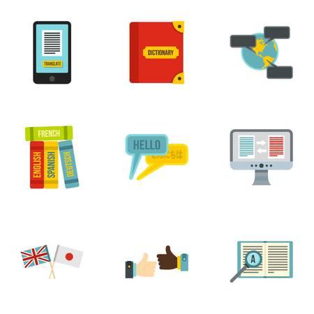 talking dictionary: Translation icons set. Flat illustration of 9 translation vector icons for web