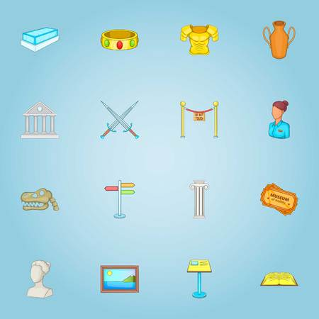 anforas: Iconos del museo. Ilustración de dibujos animados de los iconos del vector para el Web 16 museos Vectores
