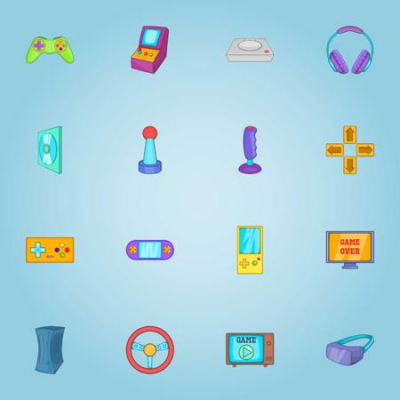 throttle: Game icons set. Cartoon illustration of 16 game vector icons for web