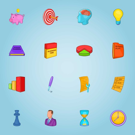 chessman: Business icons set. Cartoon illustration of 16 business vector icons for web Illustration