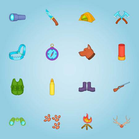 Hunting icons set. Cartoon illustration of 16 hunting vector icons for web Illustration
