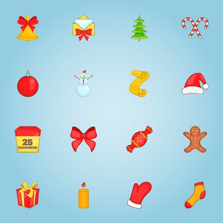Christmas icons set. Cartoon illustration of 16 christmas vector icons for web