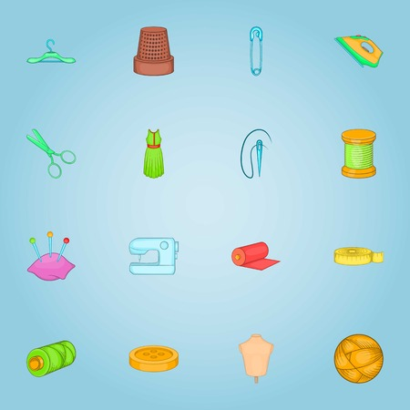 Sewing icons set. Cartoon illustration of 16 sewing vector icons for web Illustration