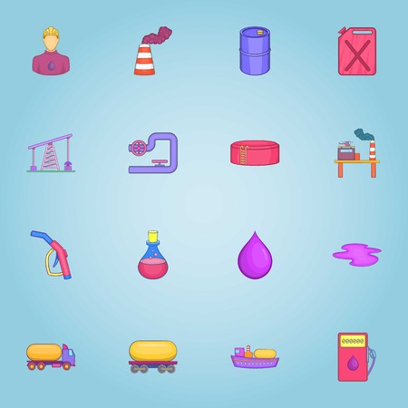 Oil production icons set. Cartoon illustration of 16 oil production vector icons for web