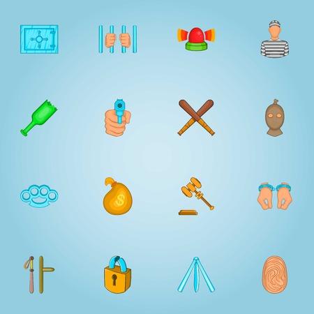 crimes: Crimes icons set. Cartoon illustration of 16 crimes vector icons for web Illustration